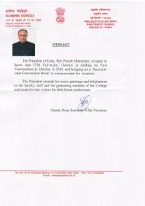 Message of President of India